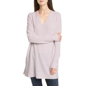 Eileen Fisher Merino Wool V Neck Tunic Sweater